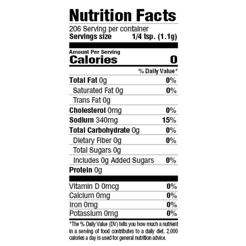 Original Creole Seasoning Nutrition Facts