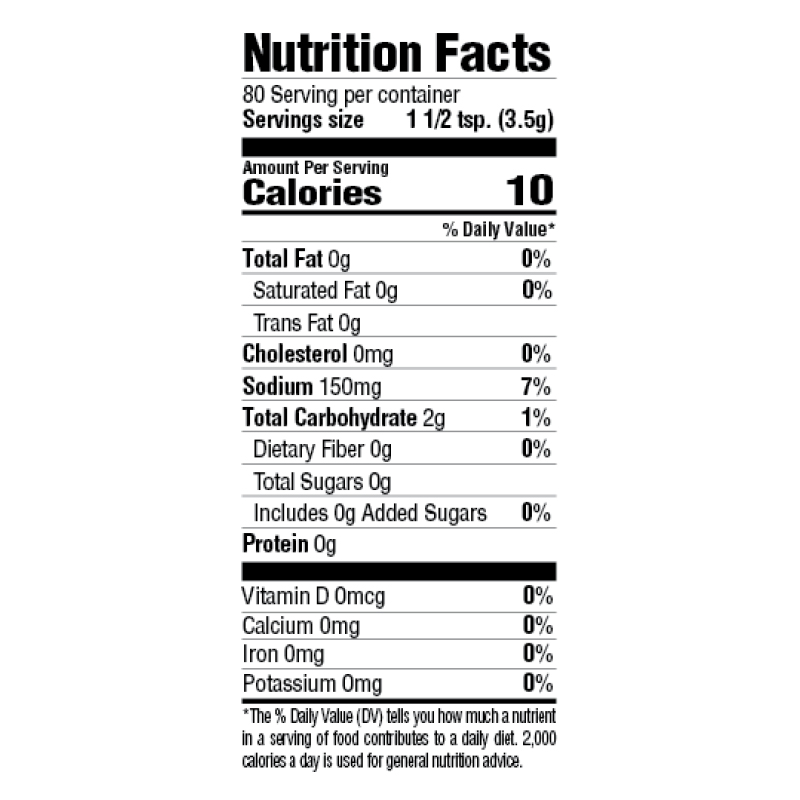Instant Brown Gravy Mix Nutrition Facts