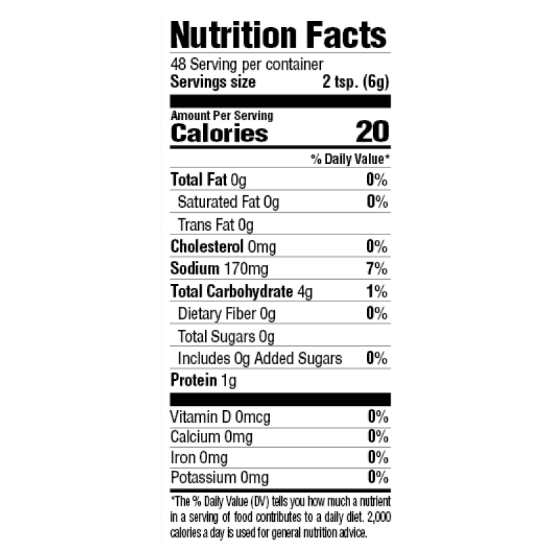 Instant White Gravy Mix Nutrition Facts