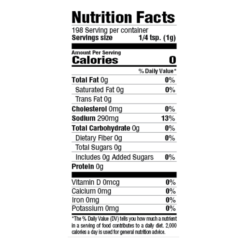 BOLD Creole Seasoning Nutrition Facts