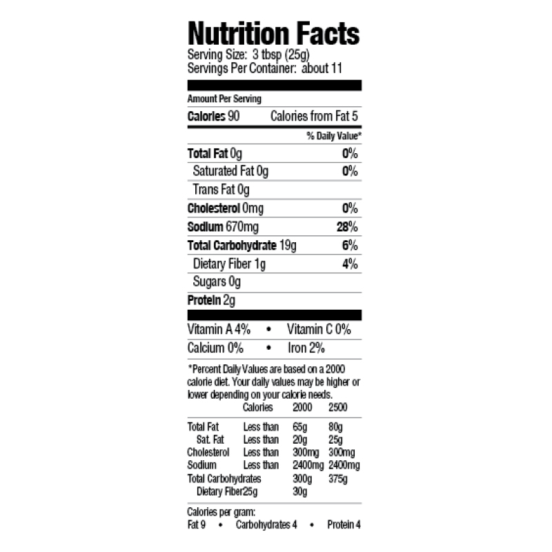 Crispy Creole Fish Fry Mix Nutrition Facts
