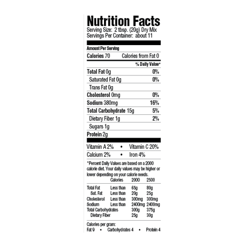 Creole Gumbo Rice Dinner Mix Nutrition Facts