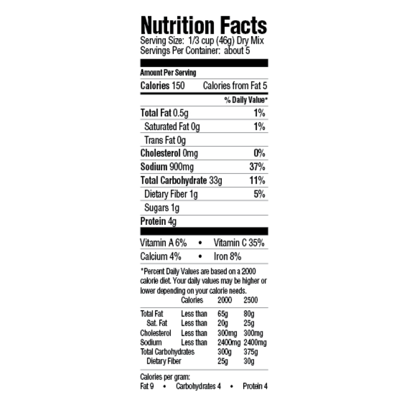 Creole Dirty Rice Dinner Mix Nutrition Facts