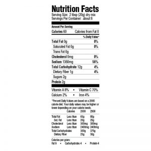 Gumbo Base Mix Nutrition