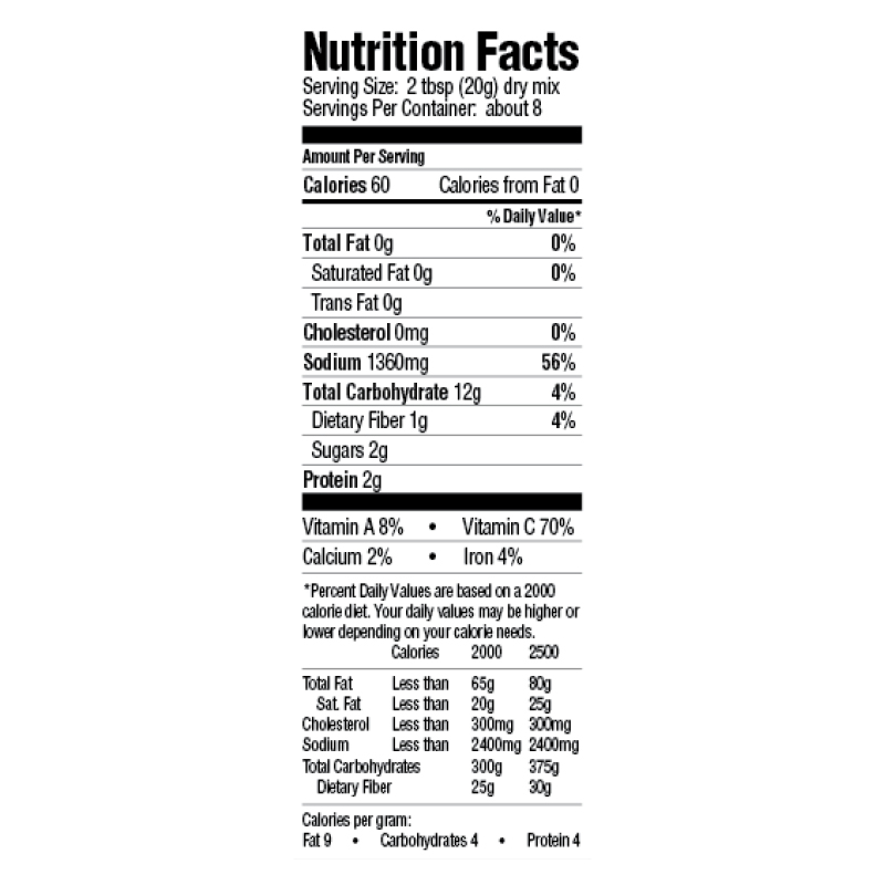 Gumbo Base  Mix Nutrition Facts