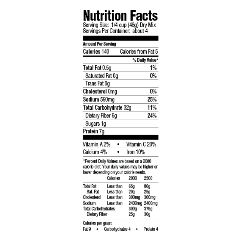 Creole Red Beans & Rice Dinner Mix Nutrition Facts