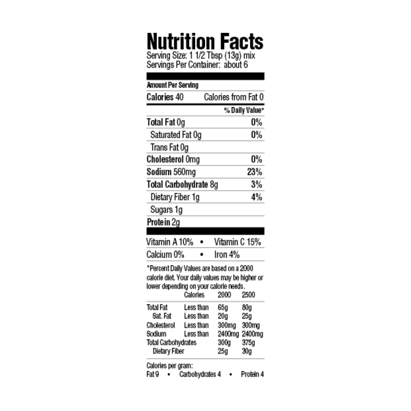 Creole Etouffee Base Mix Nutrition Facts