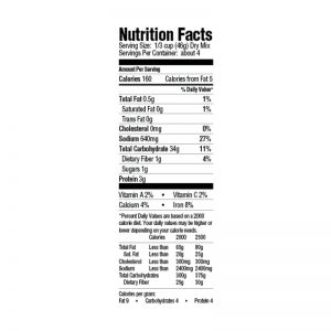 Yellow Rice Mix Nutrition