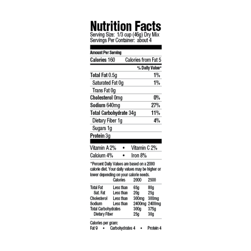 Creole Yellow Rice Dinner Mix Nutrition Facts
