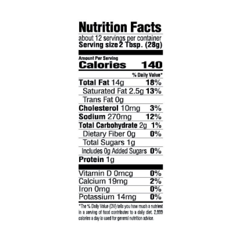 Creole-Style Ranch Salad Dressing Nutrition Facts