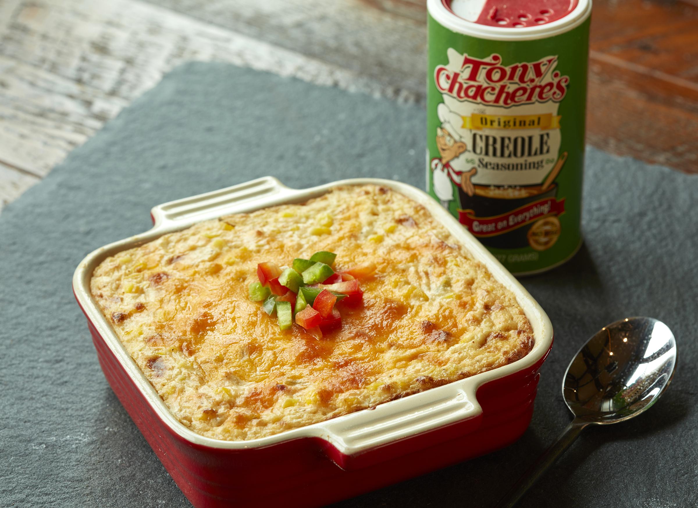 Cheesy Cajun Corn & Green Chile Casserole