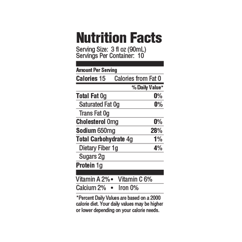 Tony Chachere's Bloody Mary Mix Nutrition Facts