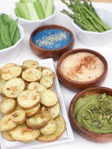 Garlic White Sweet Potato Medallions With Hummus