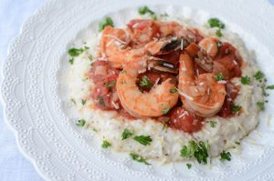 Low Country Shrimp and Grits With Stewed Tomatoes