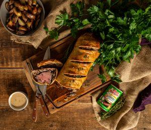 Beef Wellington with Creole Mushroom Mix