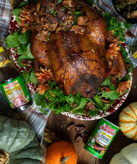 Smoked Turkey with Candied Pecans & Apple Stuffing