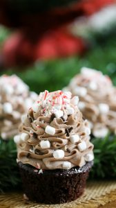 Hot Chocolate Cupcakes with Praline Filling