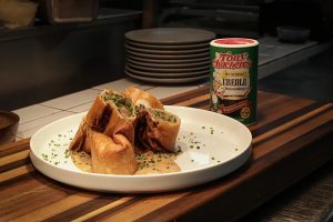 Boudin & Pepper Jack Cheese Chimichangas with Creole Sauce