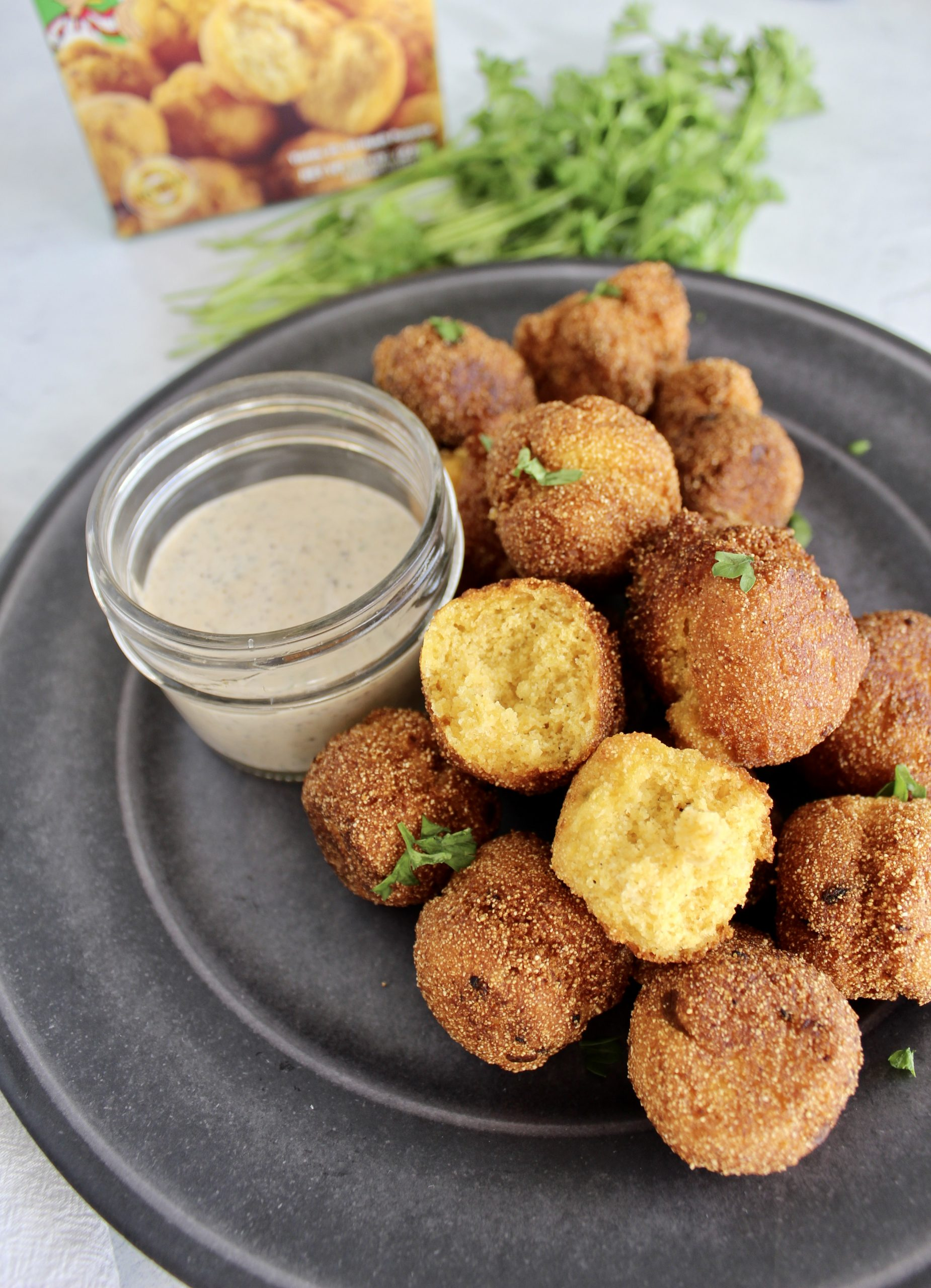 Green Chile Hush Puppies with Garlic Aioli