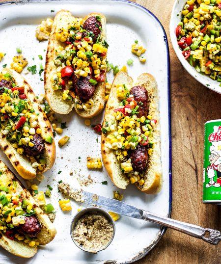 Sausage Dogs with Cajun Corn Salsa
