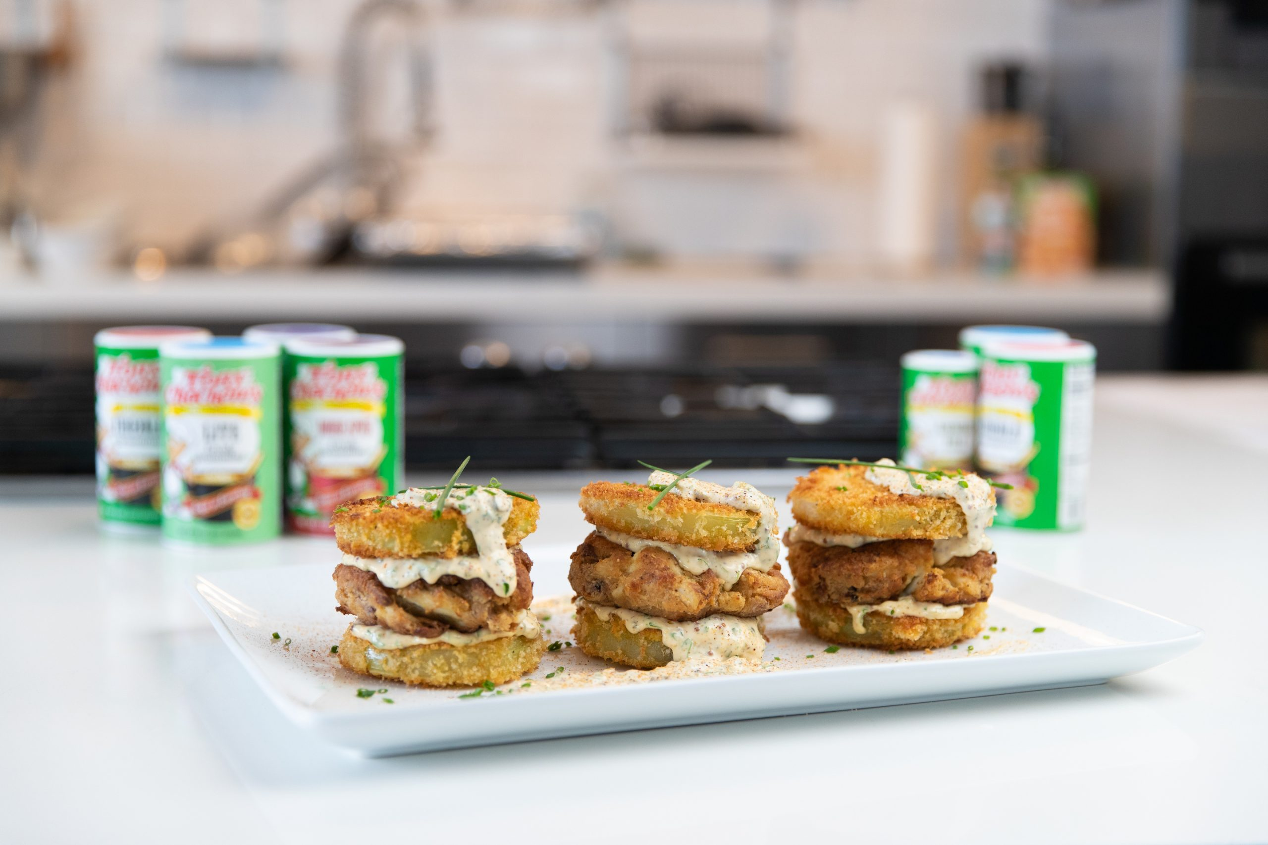 Fried Green Tomato Crab Cake Sandwich with Remoulade