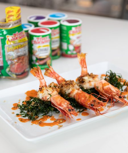 Crab Stuffed Prawns with Crispy Collards