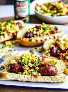 Grilled Sausage Dogs with Cajun Corn Salsa
