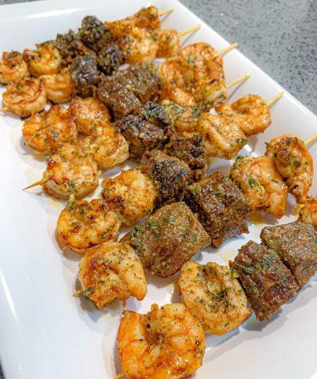 Grilled Garlic Butter Steak and Shrimp Kabobs