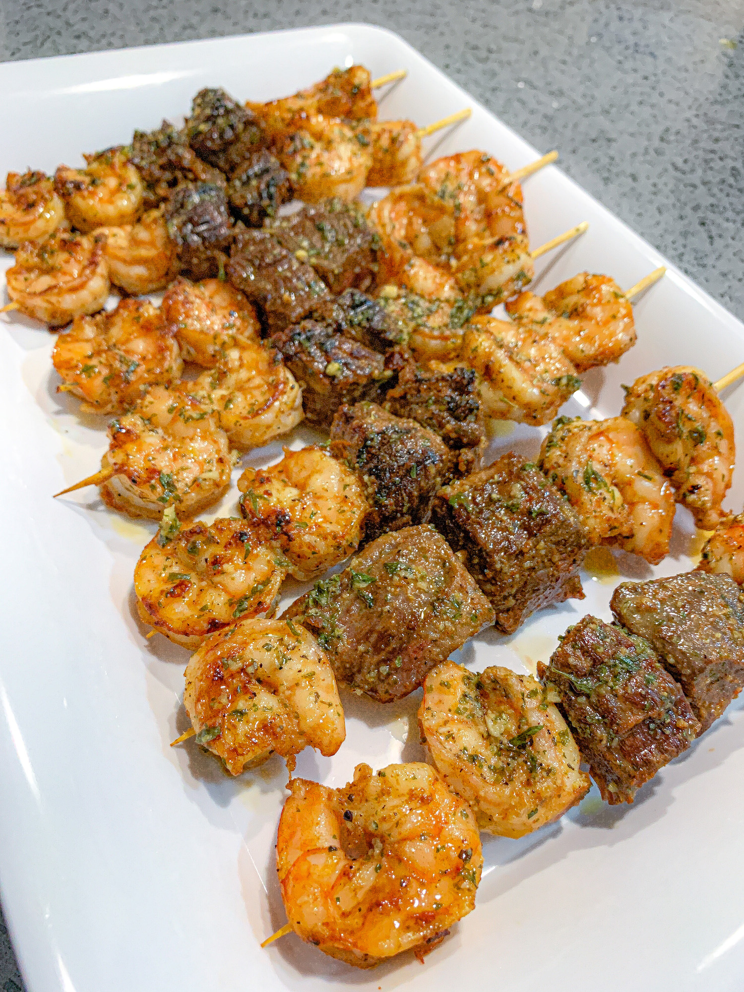 Grilled Spicy Garlic Butter Steak and Shrimp Kabobs