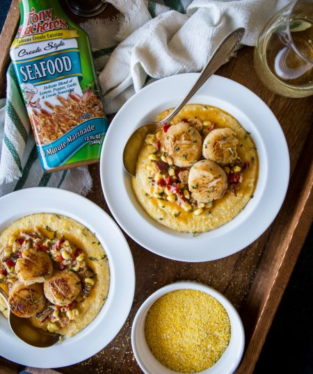 Cajun Scallops and Cheesy Grits
