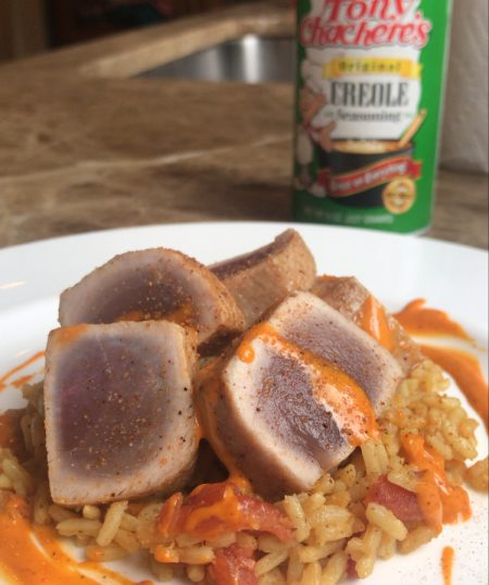 Seared Gulf Yellowfin Tuna with Tony's Creole Spanish Rice and Spicy Aioli