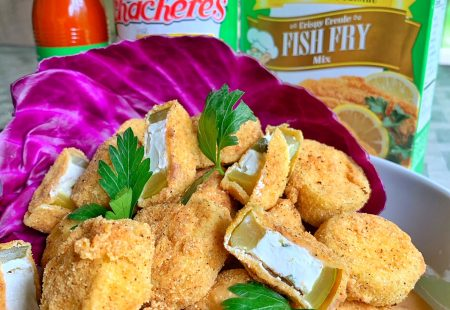 Fried Cream Cheese Stuffed Pickles with Pepper Jelly Dipping Sauce