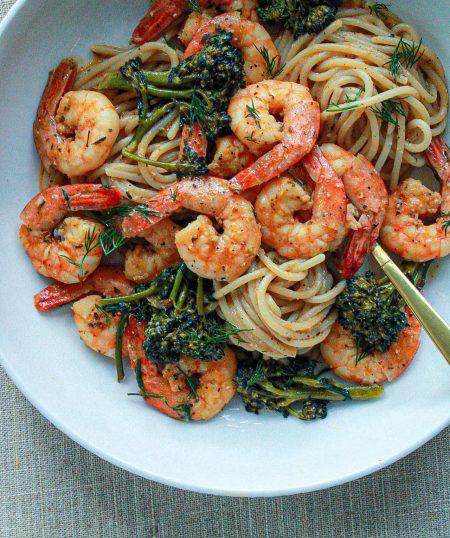 Shrimp & Broccolini Pasta in Creole Dill Sauce