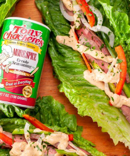 Flank Steak Lettuce Wraps with Cajun Aioli