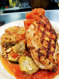 Italian Chicken with Bread Pudding and Creole Tomato Sauce