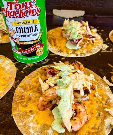 Shrimp Tacos with Jalapeño Crema