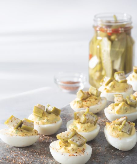 Deviled Eggs with Quick-Pickled Okra