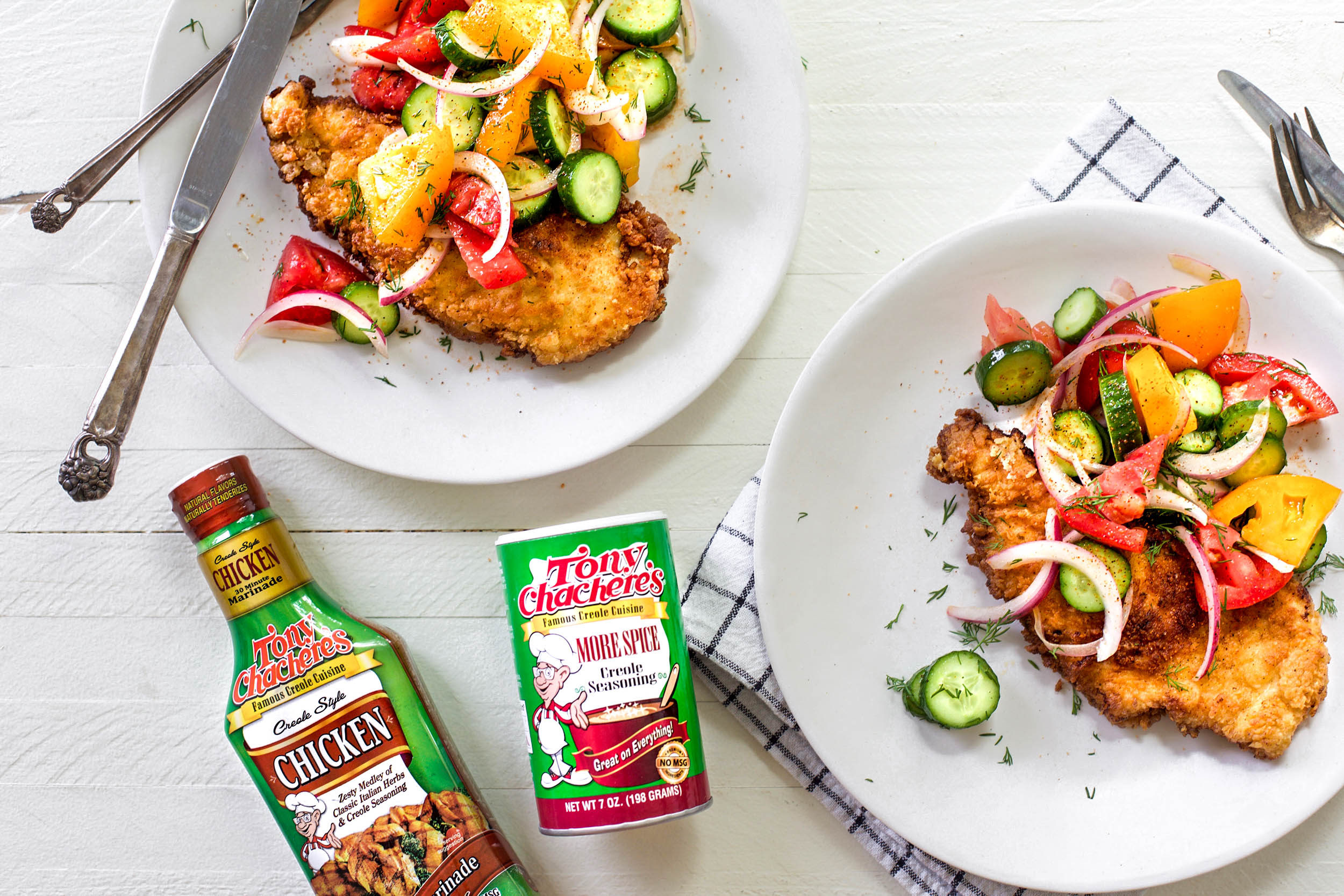 Crispy Creole Chicken Cutlets with Tomato Cucumber Salad 2