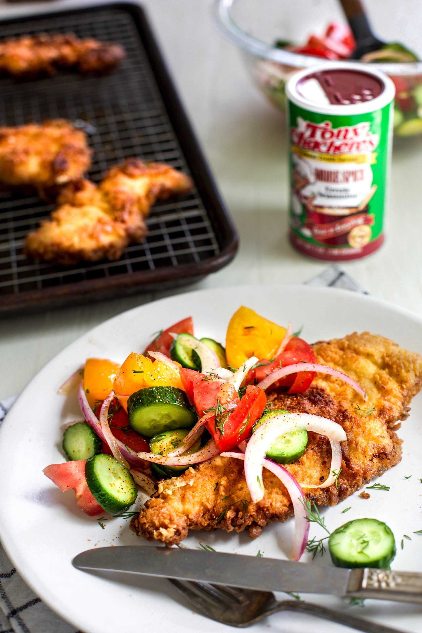 Crispy Creole Chicken Cutlets with Tomato Cucumber Salad