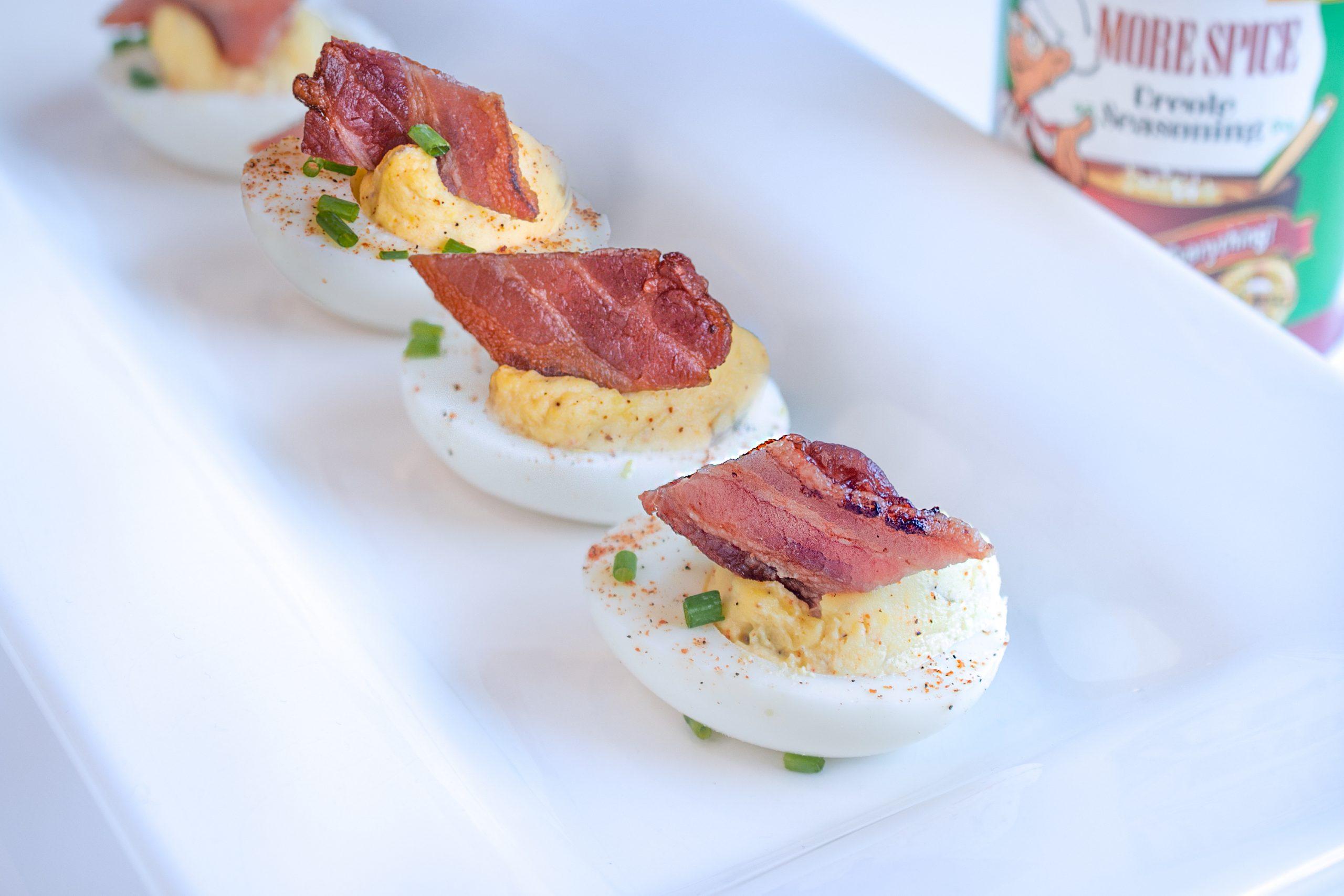 Cajun Deviled Eggs with Crispy Bacon