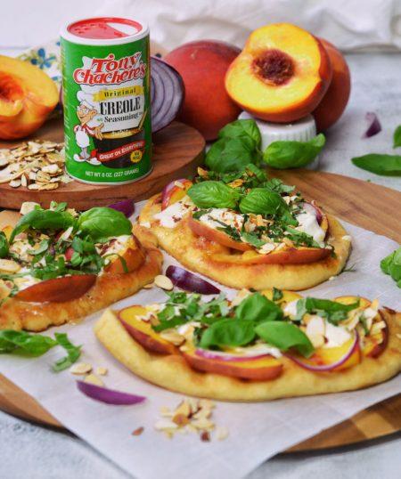 Peach & Burrata Flatbread with Honey Drizzle