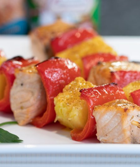 Creole Salmon & Pineapple Skewers