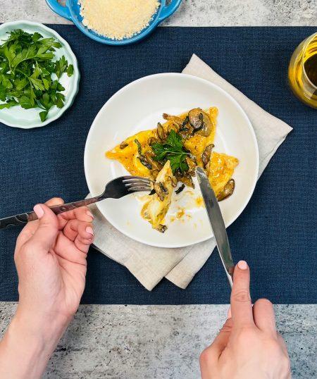 Cheese Ravioli with Creole Mushroom Sage Brown Butter Sauce