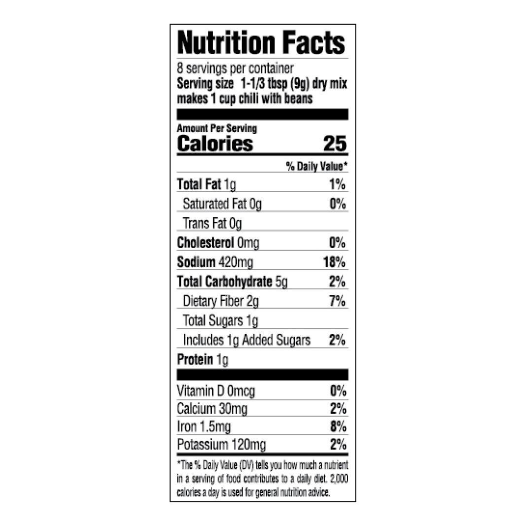 Original Chili Seasoning Mix Nutrition Facts